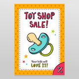 Toy shop vector sale flyer design with pacifier Royalty Free Stock Photos