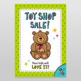 Toy shop vector sale flyer design with Teddy bear Stock Photo