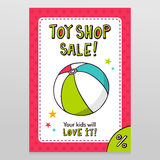 Toy shop vector sale flyer design with toy ball Royalty Free Stock Images
