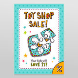 Toy shop vector sale flyer design with toy puzzle for kids Royalty Free Stock Photo