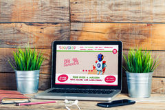 Toy shop website template design in a laptop computer. Royalty Free Stock Photo