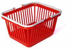 Toy shopping basket. Closeup of a toy shopping basket. Embedded clipping path, although the rear corner is a bit tricky due to being out of focus area Royalty Free Stock Image