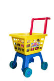 Toy shopping chariot. On white background Royalty Free Stock Photos