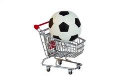 Toy Shopping Trolley med fotbollbollen Royaltyfri Bild