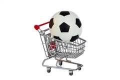 Toy Shopping Trolley with soccer ball Royalty Free Stock Image