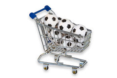 Free Toy Shopping Trolley With Soccer Balls Stock Image - 65098161