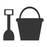 Toy shovel and bucket. Grey silhouette of toy sand shovel and bucket  illustration Royalty Free Stock Photos