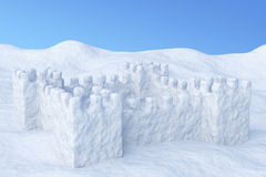 Toy show fort on snow under sky Royalty Free Stock Photography
