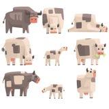 Toy Simple Geometric Farm Cows-Stellung und Legen, während Grasensatz lustige Tiere Illustrationen Vector Lizenzfreie Stockfotografie