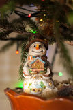 Toy smiling snowman. Christmas tree toy. Christmas mood. The House in the hands. Stock Image