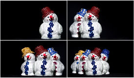 Toy snowman on black set Stock Images