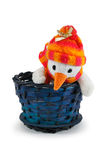 Toy snowman in blue basket Royalty Free Stock Photo
