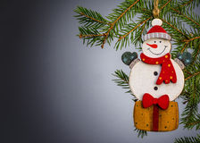Toy snowman Christmas decoration. Royalty Free Stock Photography