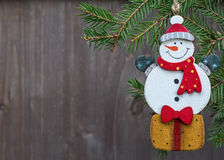 Toy snowman Christmas decoration. Royalty Free Stock Photos