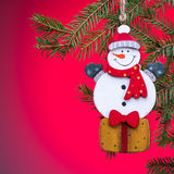Toy snowman Christmas decoration. Royalty Free Stock Image