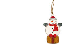 Toy snowman Christmas decoration. Royalty Free Stock Photo