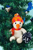 Toy snowman on Christmas tree Royalty Free Stock Image