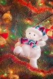 Toy snowman with Christmas tree Stock Image