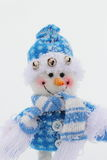 Toy snowman. In the street in winter clothes Royalty Free Stock Photos