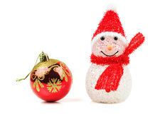 Toy snowman and toy for christmas trees on white background. Royalty Free Stock Photo