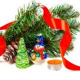 Toy snowman under a branch of an artificial Christmas tree Royalty Free Stock Photo