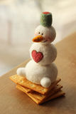Toy snowman, valentines day card Royalty Free Stock Photo