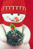 Toy Snowman with Wreath Stock Images