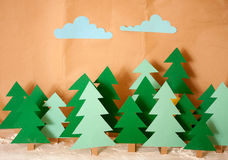 Toy snowy forest Stock Images
