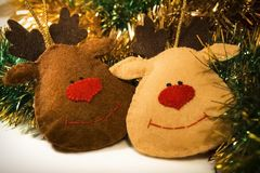 Toy soft Christmas New Year holiday toys deer closeup Royalty Free Stock Photography