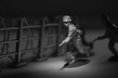 Toy Soldier. Close-up in black and white Royalty Free Stock Photos