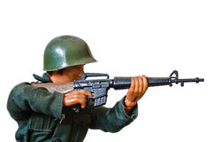 Toy soldier. On white background stock photography