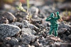 Toy soldier. In ground war Stock Photo