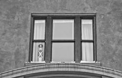 Toy Soldier at Attention. A Toy Soldier standing at attention in a window. Photo taken Jan. 2014 Royalty Free Stock Image