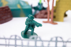 Toy soldier at the base guarding Royalty Free Stock Photo