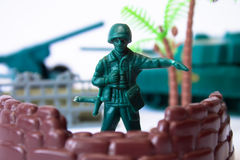Toy soldier at the base guarding Stock Image