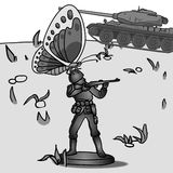 Toy soldier with butterfly on it. peacefull illustration. Grades of gray Royalty Free Stock Image