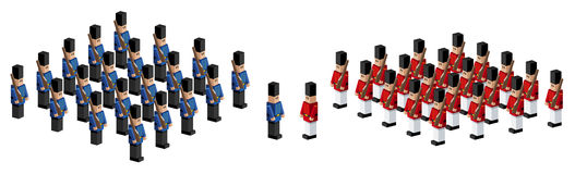 Toy soldiers. An illustration of two armies of toy soldiers Stock Photo