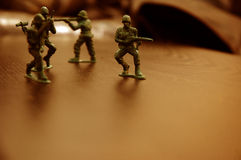 Toy soldiers. Plastic toy soldiers Royalty Free Stock Image