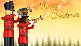 Toy soldiers announcing christmas with trumpets. Fun 3D illustration of two toy soldiers in red uniform playing trumpets. Teddy bear soldier and wooden soldier vector illustration