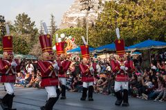 Toy soldiers from Babes in Toyland at Disneyland Christmas Fantasy parade. Several Toy Soldiers from Babes in Toyland marching in A Christmas Fantasy Parade at royalty free stock photography