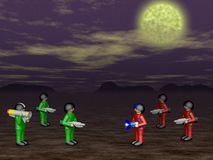 Toy soldiers in dark land. Toy soldiers standing in dark land Stock Image