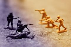 Toy soldiers fighting Royalty Free Stock Image