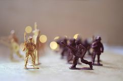 Toy soldiers go to battle stock photo