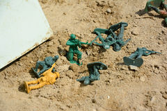 Toy soldiers. Lie on the sand Stock Images