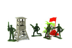 Toy soldiers and military base Royalty Free Stock Images