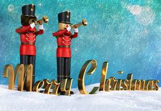 Toy soldiers in red uniform playing trumpets announcing christmas. Fun 3D illustration of two toy soldiers in red uniform playing trumpets. Teddybear soldier royalty free illustration