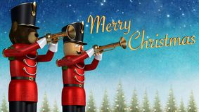 Toy soldiers with trumpets announcing merry christmas. Fun 3D illustration of two toy soldiers in red uniform playing trumpets. Teddy bear soldier and wooden stock illustration
