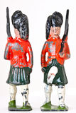 Toy soldiers - Vintage foot guards with rifles. 2 vintage toy soldiers on white background Stock Photo