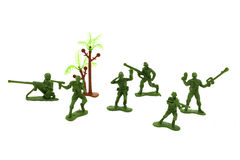 Toy soldiers. On a white background Royalty Free Stock Photography
