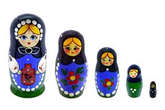 Toy souvenir five beautiful Russian nesting dolls royalty free stock images